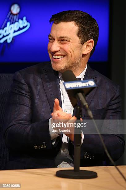 Dodgers president of baseball operations Andrew Friedman introduces Pitcher Kenta Maeda to the Los Angeles Dodgers at Dodger Stadium on January 7...