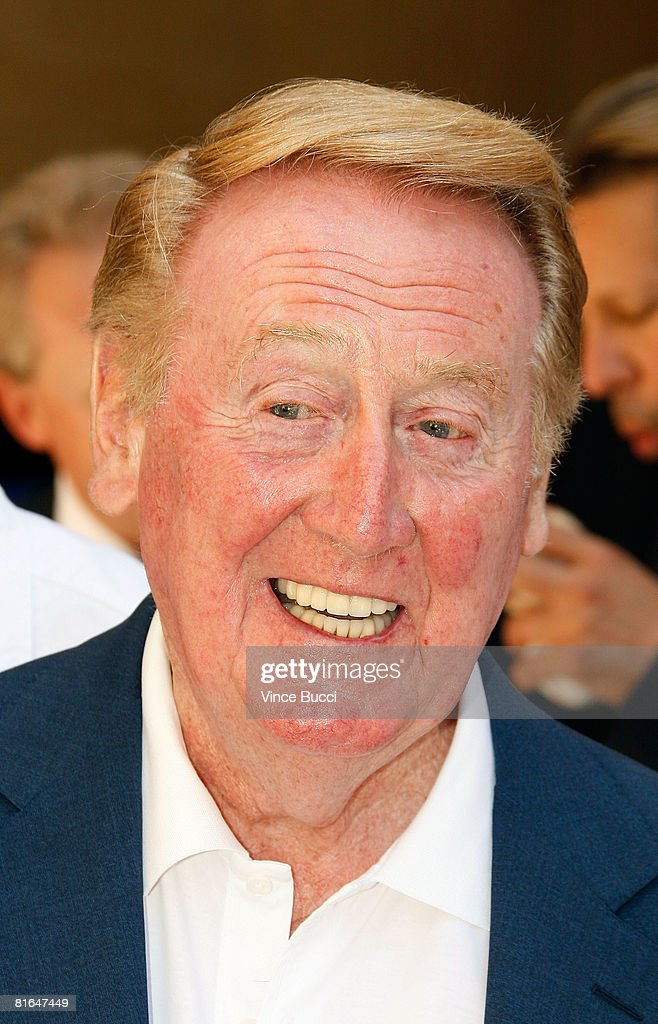 Dodgers radio announcer Vin Scully attends a special star ceremony honoring the Los Angeles Dodgers with an Award of Excellence on the Hollywood Walk...