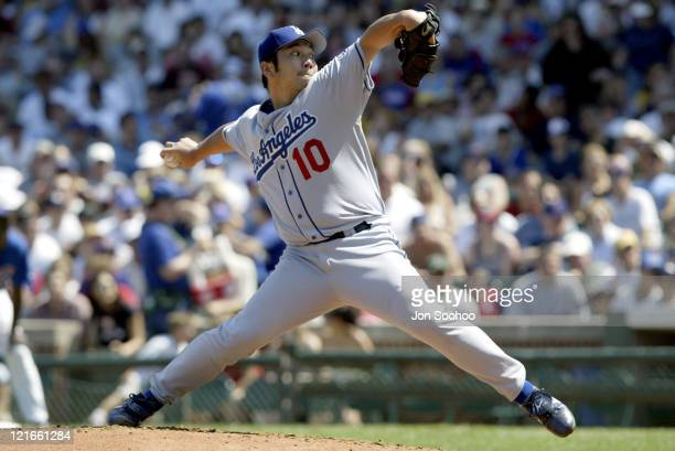 Dodgers starting pitcher Hideo Nomo during Chicago Cubs vs Los Angeles Dodgers 17 August 2003 at Wrigley Field Chicago Cubs Stadium in Chicago IL...