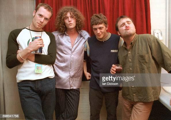 Dodgy group portrait backstage at The Forum Kentish Town London 09 June 1995 LR live keyboard player Nigel Clark Andy Miller Matthew Priest