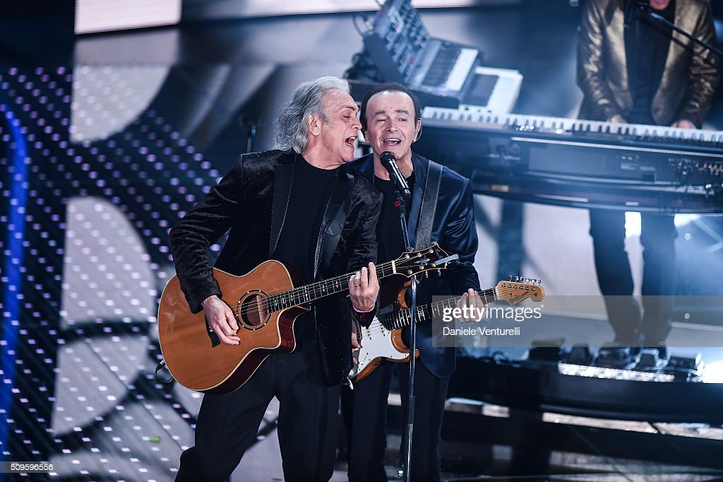 Dodi Battaglia and Riccardo Fogli attend the third night of the 66th Festival di Sanremo 2016 at Teatro Ariston on February 11, 2016 in Sanremo, Italy.