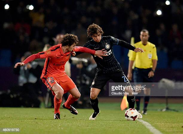 Dodo of FC Internazionale and Adrien Rabiot of Paris Saint Germain during the Qatar Winter Tour match betweeen Paris Saint Germain and FC...
