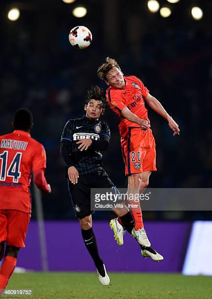 Dodo of FC Internazionale and Clement Chantome of Paris Saint Germain during the Qatar Winter Tour match betweeen Paris Saint Germain and FC...