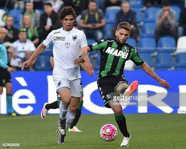 Dodo' of UC Sampdoria and Domenico Berardi of US Sassuolo Calcio in action during the Serie A match between US Sassuolo Calcio and UC Sampdoria at...