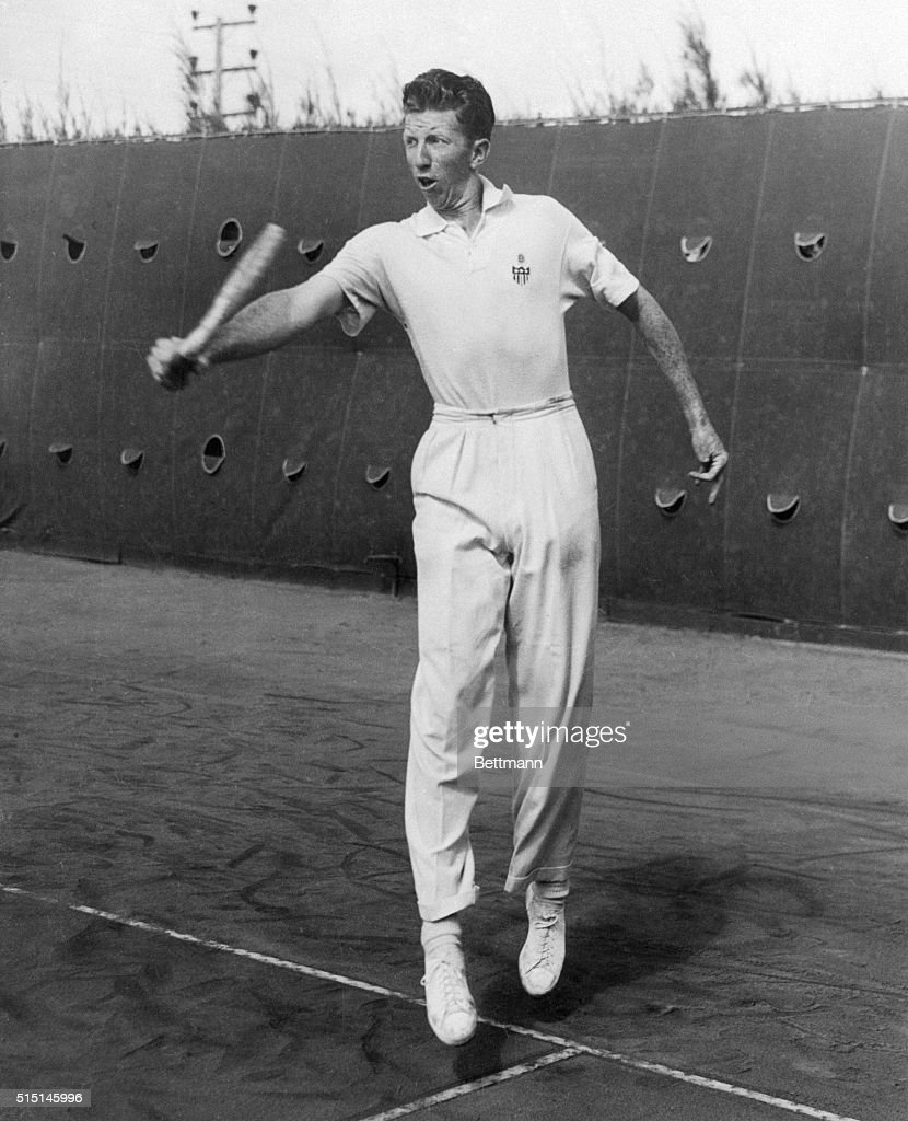 Tennis Player Don Budge Delivering Backhand