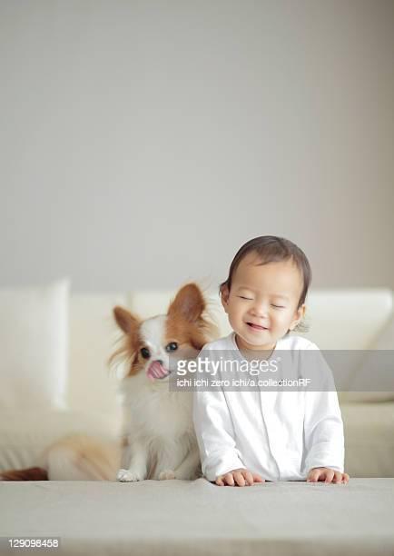 Dog and baby girl