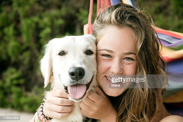 Dog and young girl friendship.