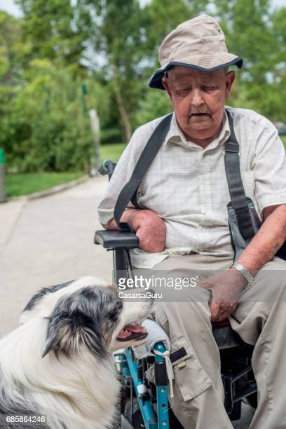 Dog As Emotional Support Animal For Disabled Senior Man
