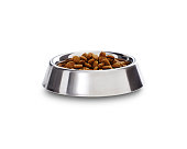 A serving of dry complete dog biscuits in a shiny metal dog bowl with rubber stand