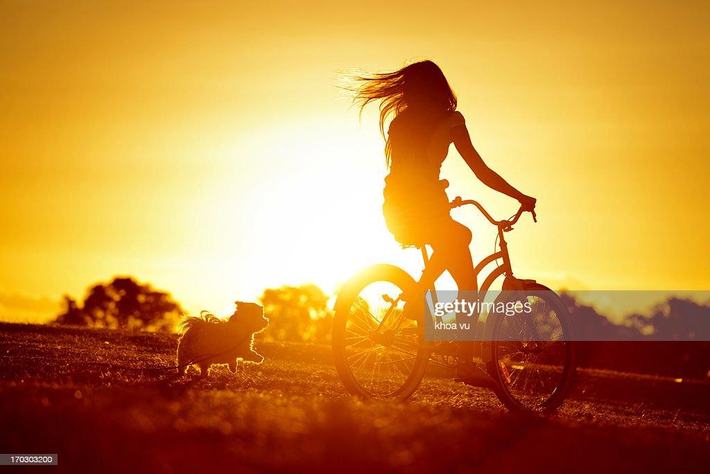 Dog chasing girl