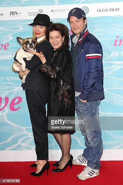 Dog Chica Nadja Uhl Hannelore Elsner and Hinnerk Schoenemann attend the German premiere of the film 'Alles Inklusive' at Mathaeser Filmpalast on...