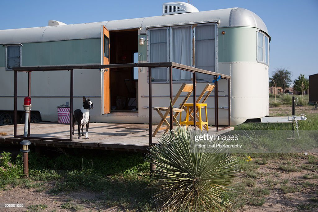 Dog friendly trailer Camping in the desert at the El Cosmico campground in Marfa, Texas in 2014