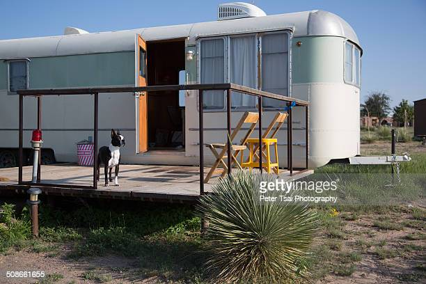 Dog friendly trailer Camping in the desert at the El Cosmico campground in Marfa Texas in 2014