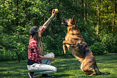 Dog jump for ball, friendship with owner.