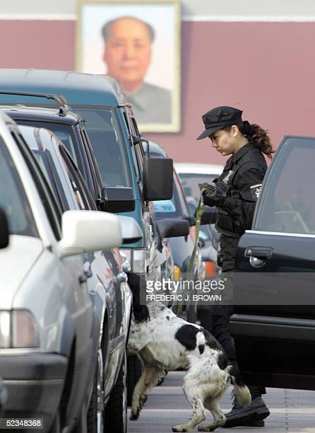 A dog leads the way as a special forces policeman follows during a security sweep of vehicles parked on Tiananmen Square amid ongoing parliamentary...