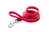 red dog leash isolated on white background