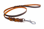 Dog leather leash on a white background