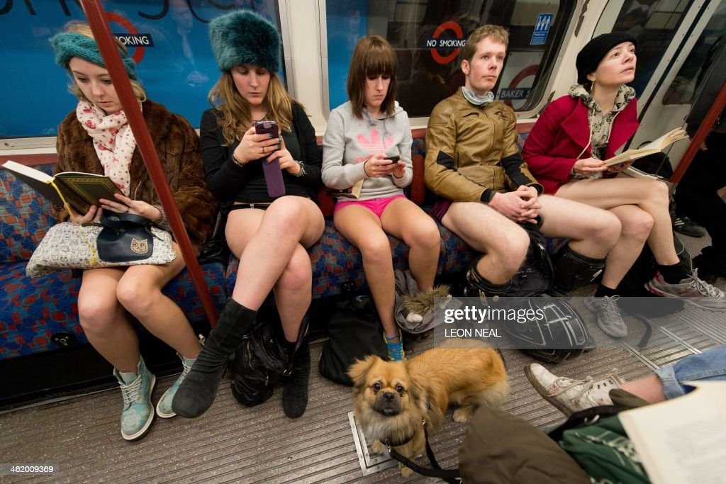 A dog looks on as participants in the 13th annual International 'No Pants Subway Ride' travel on a London underground train in London on January 12...