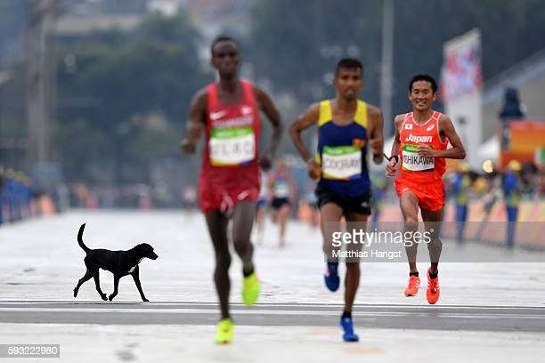 A dog runs on the course as Abdi Hakin Ulad of Denmark Anuradha Indrajith Cooray of Sri Lanka and Suehiro Ishikawa of Japan approach the finish line...