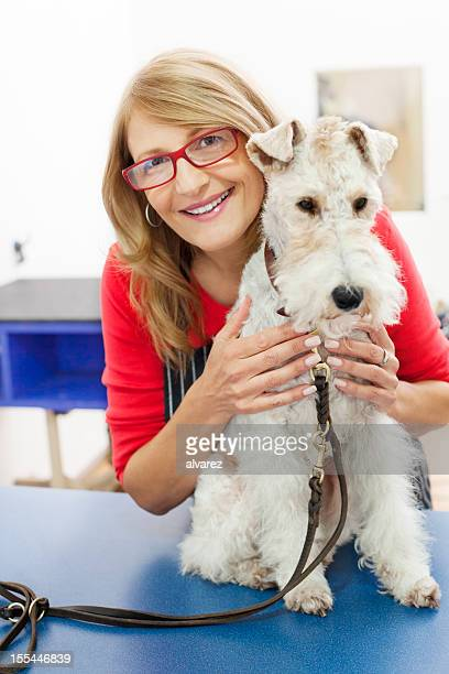 Dog Salon owner with a fox terrier