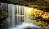 Dog Slaughter Falls in the Daniel Boone National Forest in Southern Kentucky. View from a cave behind the waterfall