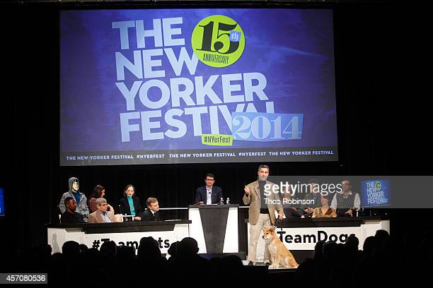 Dog trainer Bill Berloni participates in a panel discussion 'You The Jury Cats Vs Dogs' during the New Yorker Festival on October 11 2014 in New York...