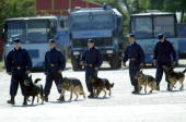 Dog trainers gendarme prepares for a demonstration exercise taking place in Bucharest 12 August 2003 Romanian gendarmery celebrates today 140 years...