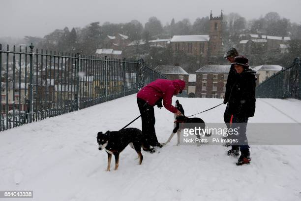Dog walkers chat in the snow in Ironbridge Shropshire