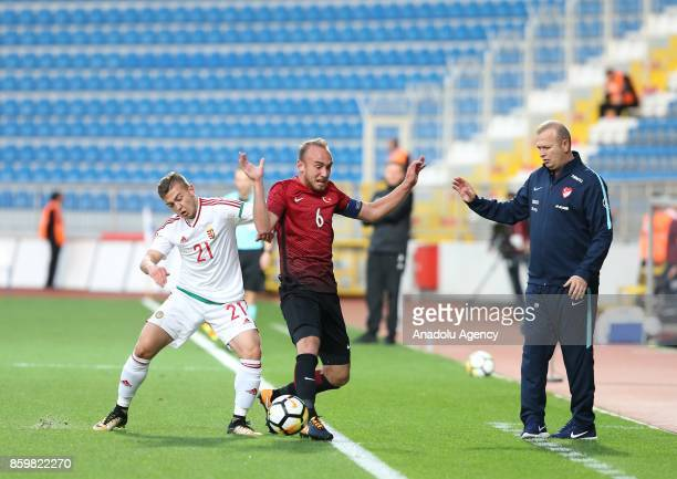 Dogan Erdogan of Turkey in action against Donat Zsoter of Hungary during the 2017 UEFA European Under21 Championship qualification Group 6 football...