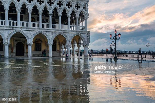Doges palace and square flooded with acqua alta