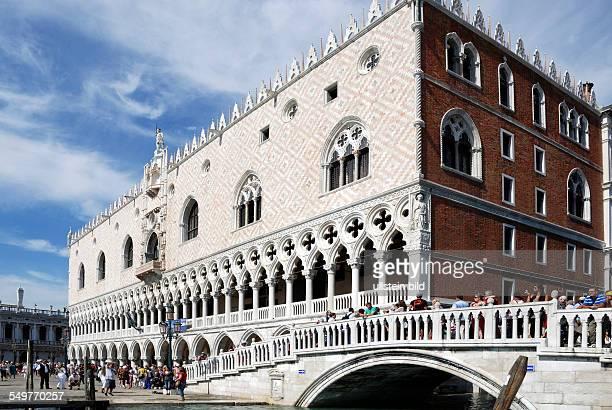 Doge's Palace Palazzo Ducale with the Straw bridge Ponte della Paglia in Venice