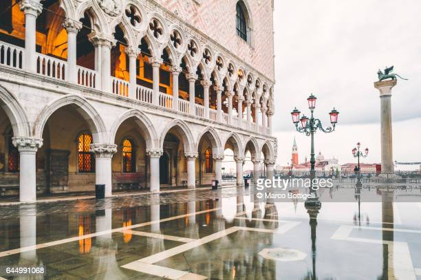 Doges Palace with high tide in St Mark's square. Venice, Italy