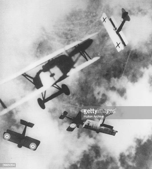British SE5s locked in aerial combat with German Fokker D7s circa 1915