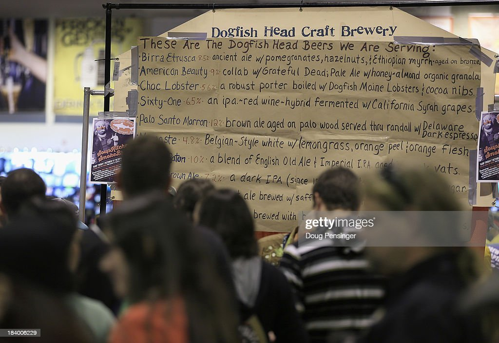 Dogfish Head Craft Brewery of Milton, Delaware presents their beer menu at the 32nd annual Great American Beer Festival at the Colorado Convention Center on October 10, 2013 in Denver, Colorado. The GABF runs October 10-12 and 49,000 attendees will be offered 3100 beers from 624 breweries.