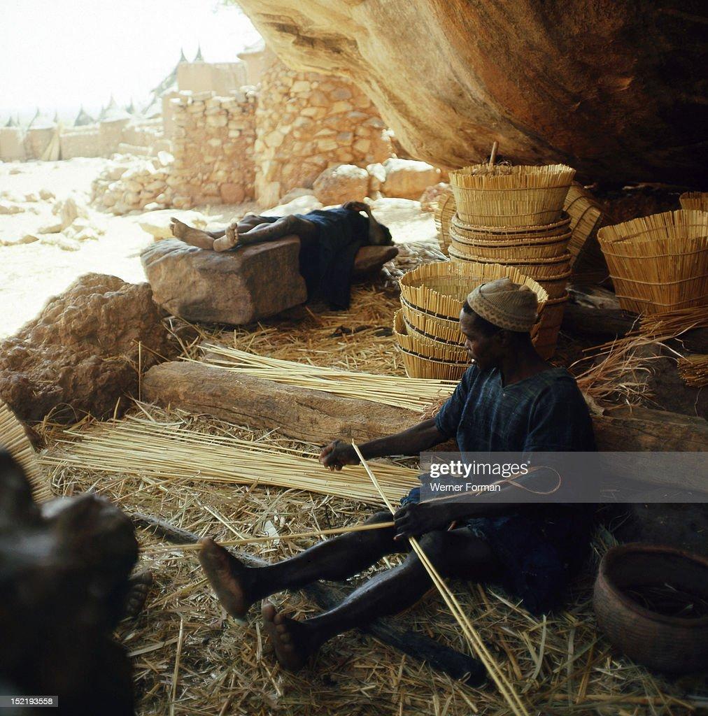 Dogon basketmaker Mali Dogon late 1950's early 1960's Bandiagara cliffs