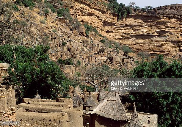 Dogon village of Banani seen from the top of the Bandiagara Escarpment Mopti Mali