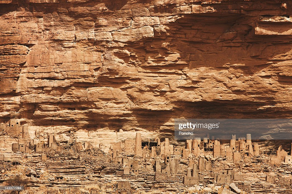 Dogons village in the Rocks : Stock Photo