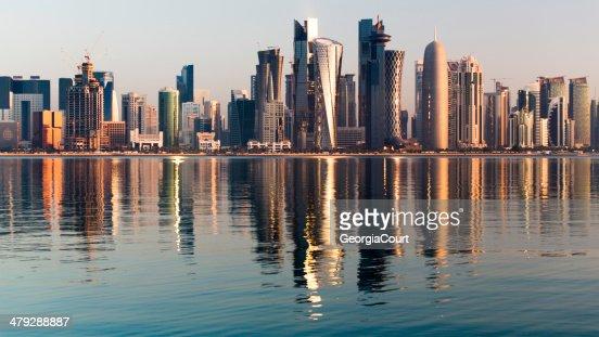 Doha City Qatar at sunrise