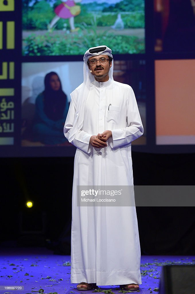Doha Film Institute CEO Abdulaziz Bin Khalid Al-Khater speaks at the opening night ceremony and gala screening of 'The Reluctant Fundamentalist' during the 2012 Doha Tribeca Film Festival at Al Mirqab Hotel on November 17, 2012 in Doha, Qatar.