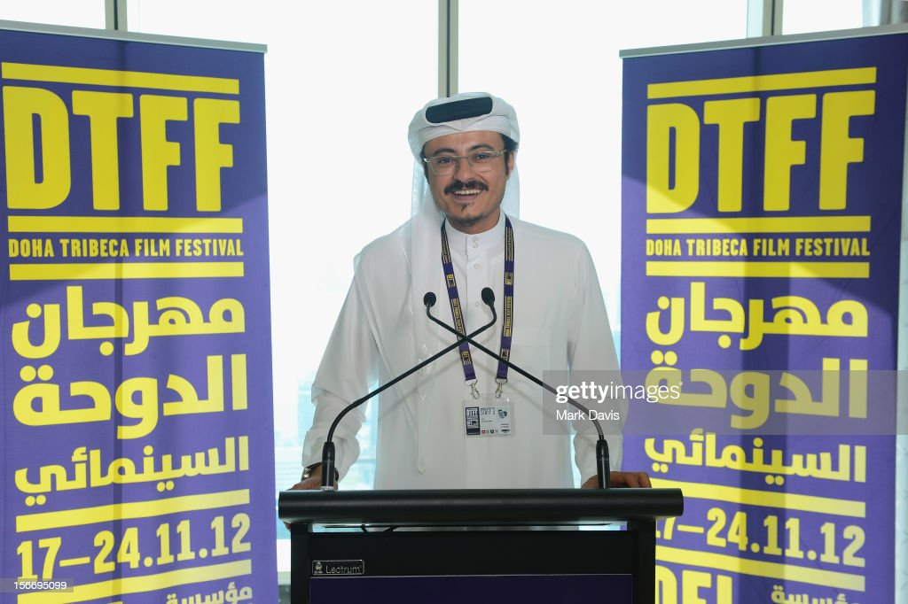 Doha Film Institute CEO Abdulaziz Bin Khalid Al-Khater speaks at the Filmmakers Brunch during the 2012 Doha Tribeca Film Festival at Kempinski Sky Villa on November 19, 2012 in Doha, Qatar.