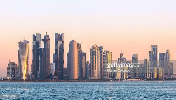 Doha financial center skyline at sunrise, Qatar