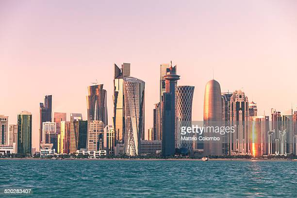 Doha financial center skyline at sunset, Qatar
