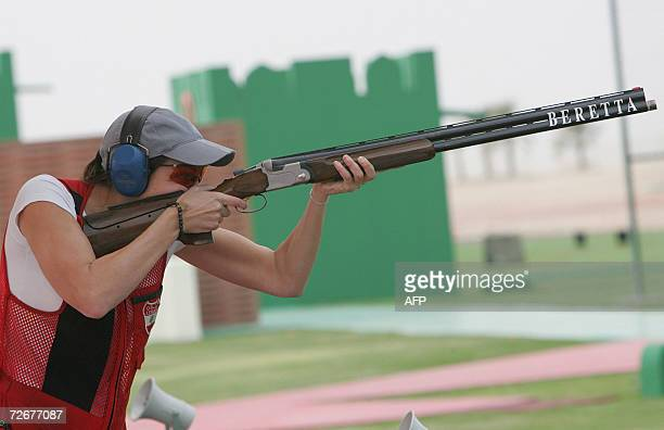 Lebanese shooter Ray Bassil trains during a trap training session 30 November 2006 one day before the 15th Asian Games officially open More than...