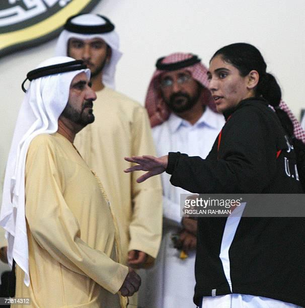 Maithaa Mohammed Rashid AlMakhtoum talks with her father Dubai ruler Sheikh Mohammed Rashid AlMakhtoum after she defeated opponent Abrar Abul Sayed...