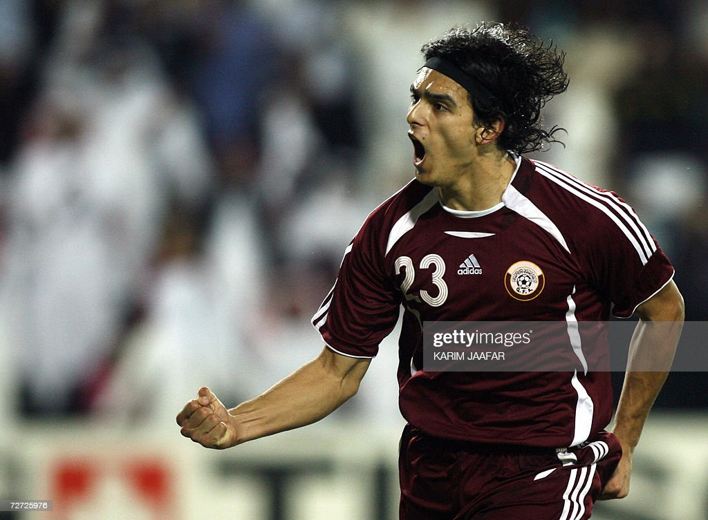 New Qatar national team soccer player Uruguayborn Sebastian Soria celebrates after scoring against the United Arab Emirates during the men's round 2...