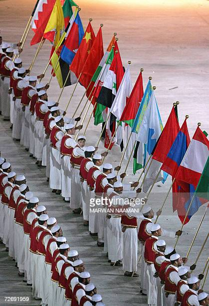 The flags of the Asian Games nations are lined up during the opening ceremony for the 15th Asian Games at Khalifa Stadium in Doha 01 December 2006...