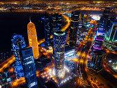 Doha Skyline at Night, Qatar taken in 2015