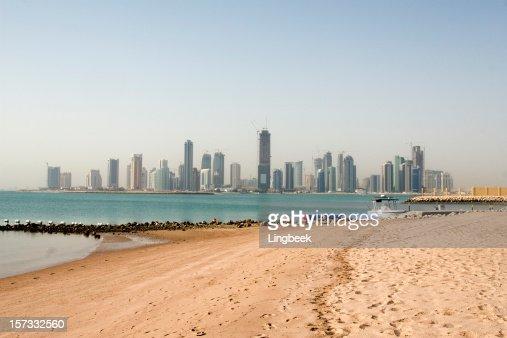 Doha skyline from the beach