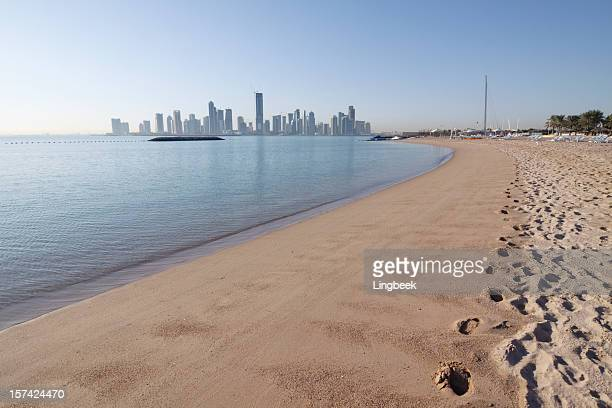 Doha skyline from the beach