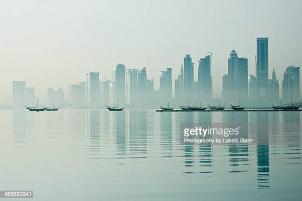 Doha Skyline on a foggy morning